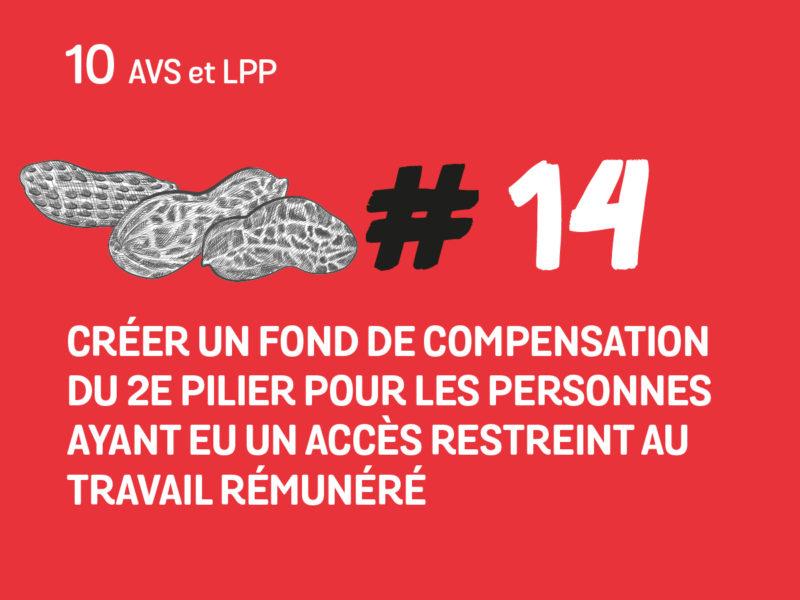 14 Créer un fond de compensation du 2ème pilier pour les personnes ayant eu un accès restreint au travail rémunéré.