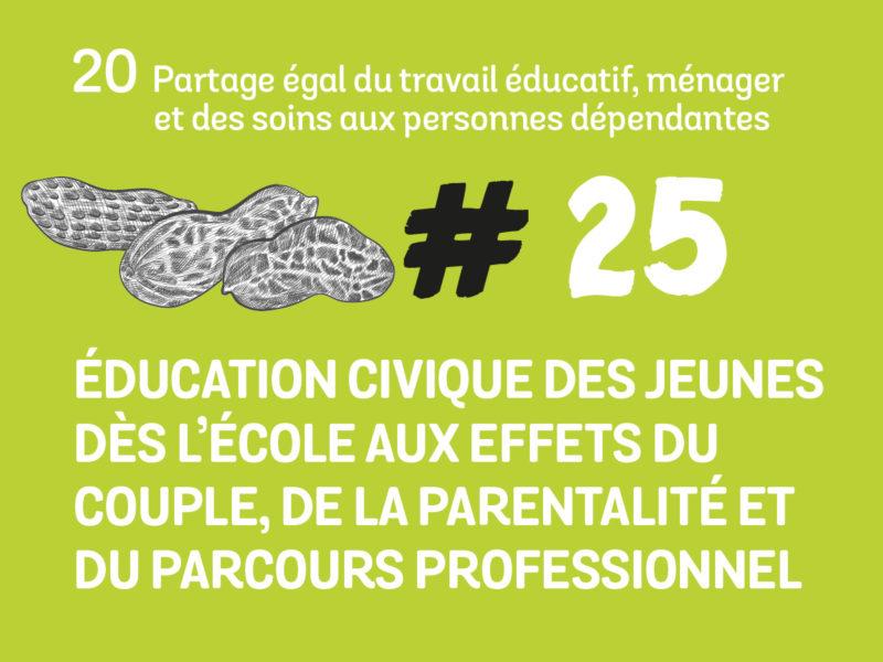 25 Education civique des jeunes dès l'école aux effets du couple, de la parentalité et du parcours professionnel