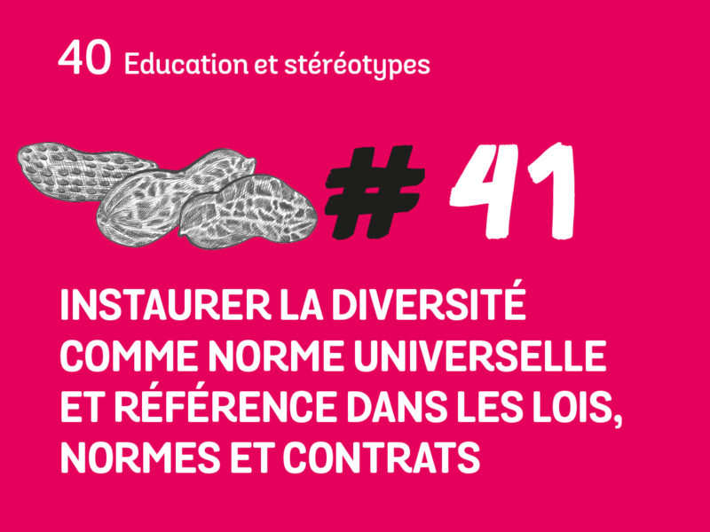 41 Instaurer la diversité comme norme universelle et référence dans les lois, normes et contrats